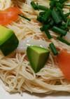 冷製イカサーモンと明太ペペロンチーノ素麺