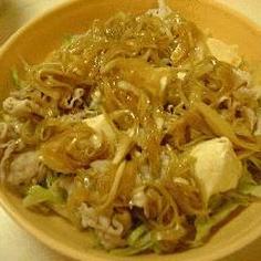 豚しゃぶと豆腐の玉ねぎドレッシングサラダ