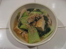 ✿チンゲン菜&豚肉&厚揚げのあんかけ炒め