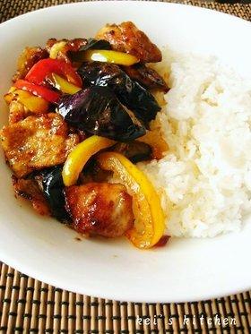 茄子と豚のお酢炒め丼