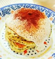 ヘルシー!豆腐クリームの紅茶パンケーキの写真