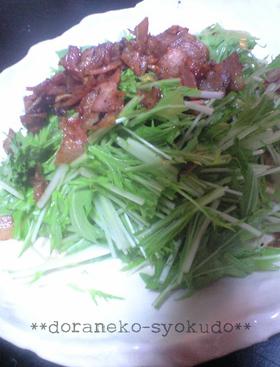 にんにくベーコンのさっぱり水菜サラダ