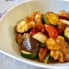 鶏と夏野菜の酢豚風