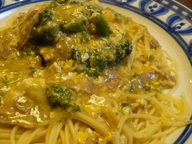 卵とブロッコリーで中華風スープパスタ