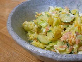 鮭とキャベツのバジルサラダ