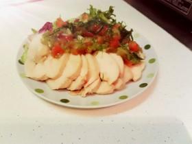 鳥ハム ~胡瓜とトマトのレモンソース~
