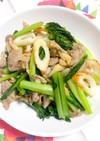 豚肉と小松菜の辛子本つゆ炒め