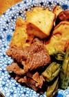生揚げと牛肉の甘辛煮