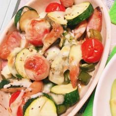 夏野菜のマヨチーズ焼き