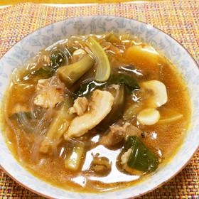 """""""ピリ辛""""ブタ小間とニンニクのスープ"""