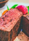 絶品!贅沢な牛もも肉の厚切りステーキ
