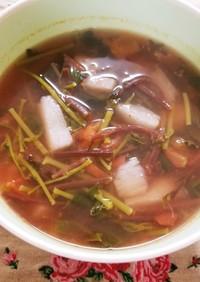 トマトでさっぱりツルムラサキと山芋スープ