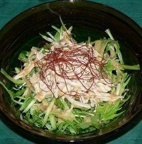 蒸し鶏と水菜の金ごまサラダ