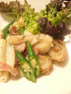 ホタテとネバネバ野菜のソテー