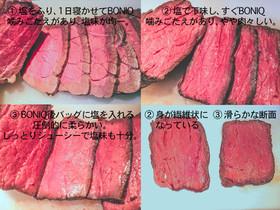ローストビーフ低温調理 塩投入比較