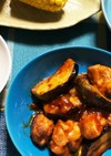 かも茄子と鶏モモ肉のポン酢チャップ