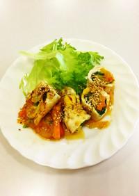 鶏ささ身野菜ロール巻きマーマレードソース