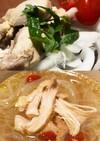 ゆで鶏→バンバンジー&薬膳スープ
