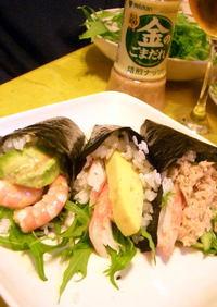 ごまだれで、サラダ手巻き寿司