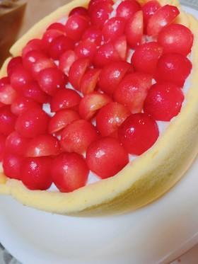 さくらんぼとヨーグルトムースケーキ