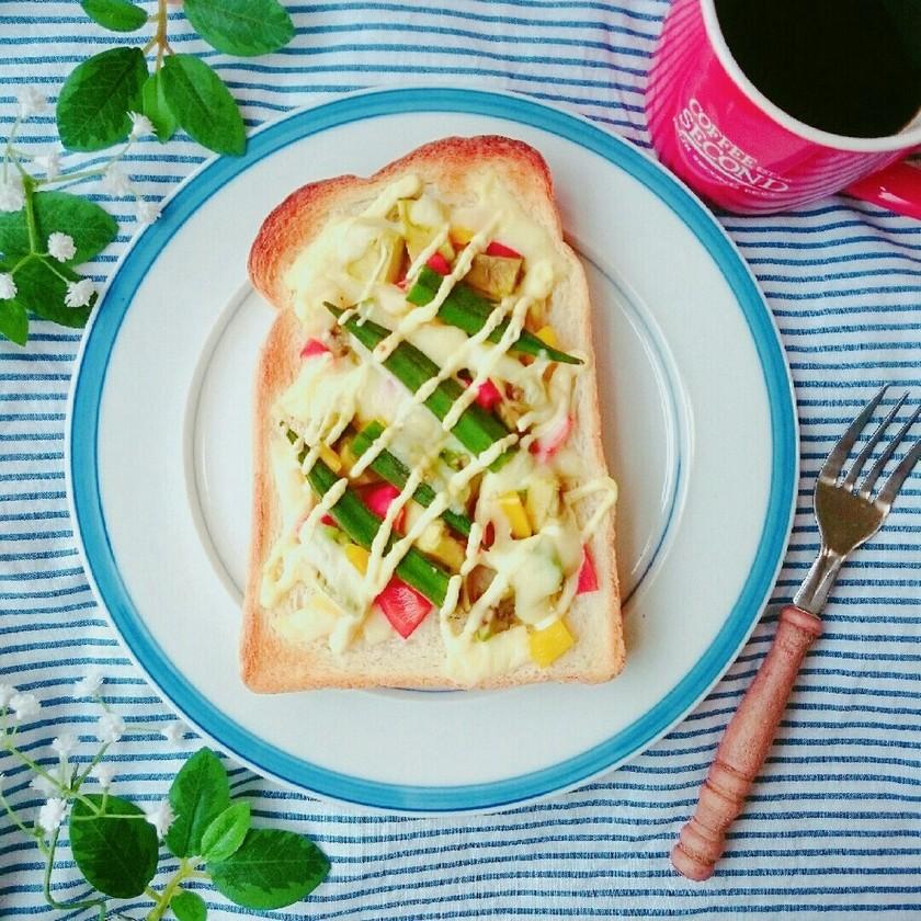 夏野菜たっぷりカラフルトースト☆