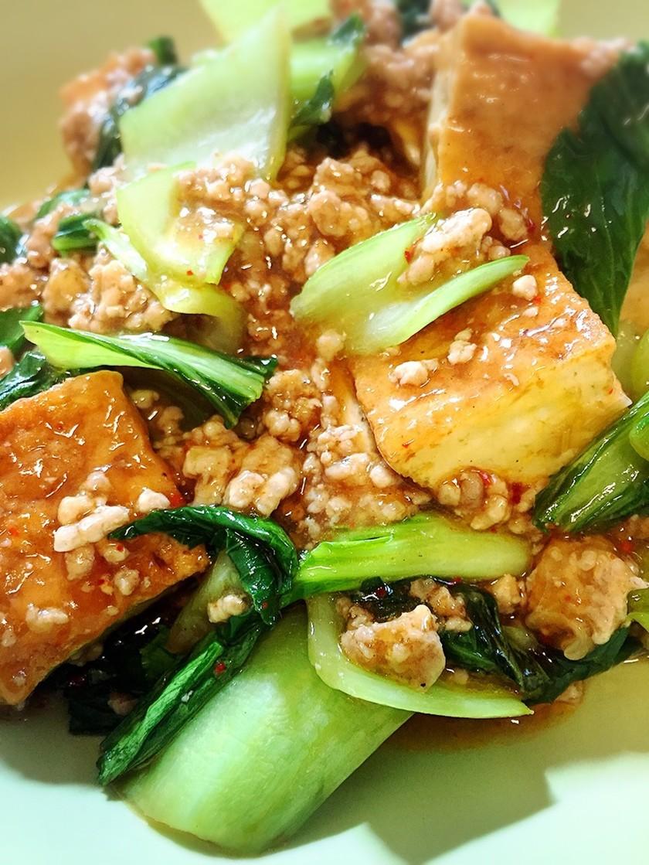 青梗菜と厚揚げとひき肉のピリ辛炒め