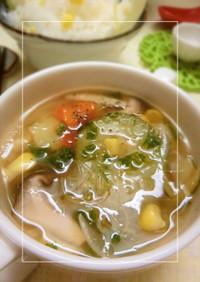 夏野菜の冷スープ~とうもろこしのひげ入り