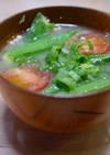 たたきオクラとミニトマトの味噌汁