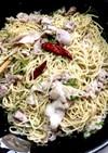 大磯屋の焼きそば麺で豚バラペペロンチーノ