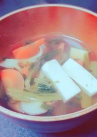 ほうれん草と豆腐の基本のお吸い物