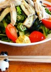 蒸し鶏と蒸し茄子の野菜たっぷり冷やし中華