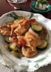 鶏むね肉と夏野菜のトマト酢炒め