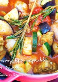 ストウブ鍋★手羽先と夏野菜のトマト煮込み