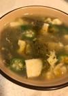 オクラとアオサと豆腐の卵スープ