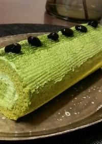 ほろ苦大人の抹茶のロールケーキ