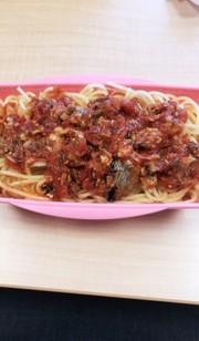 サバ缶でトマトソースパスタ!お弁当にもの写真