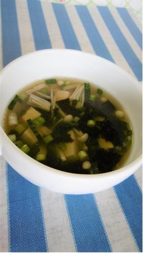 小ねぎと海苔の豆腐スープ