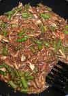アスパラガスと舞茸のトマトマスタード炒め