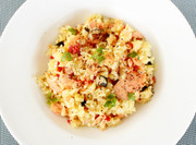 簡単☆甘塩鮭のカレー風味炊き込みごはんの写真