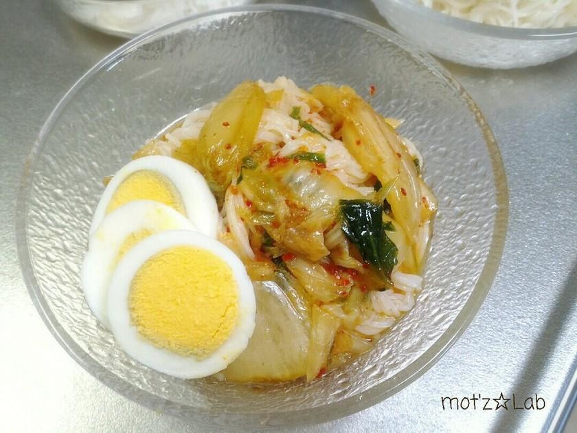 簡単にアレンジ♪キムチ麺つゆぶっかけ素麺