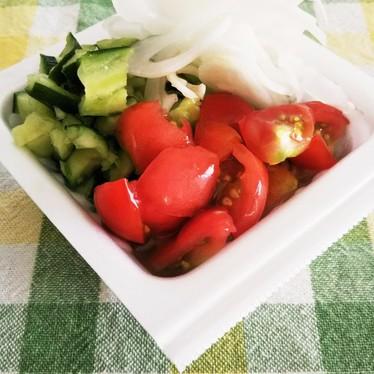 ✡。酢玉葱納豆~夏野菜で✡。