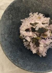 金時草と塩麹の炊き込みご飯