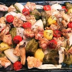 残り野菜と鶏肉のぎゅうぎゅう焼き