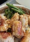 塩麹豆腐の肉巻きオイスターソース炒め