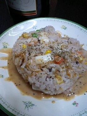 雑穀米でライスサラダ・金ごまドレッシング