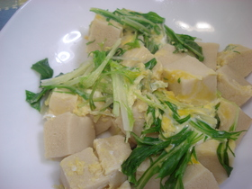 高野豆腐と水菜の卵とじ♪