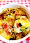 糖質オフ☆夏野菜とサラダチキンのチーズ焼