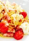 カリフラワーとトマトのバター風味パスタ