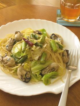 牡蠣と春野菜の*ペペロンチーノ*