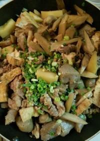 根菜と豚肉ときのこの煮物